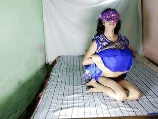 Indian Aunty Anita Singh In Blue Desi Dress Fingering Pussy Masturbation