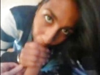 Indian UK university girl sucks my cock in student flat