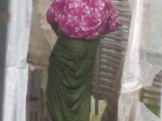 Indian aunty outdoor bath