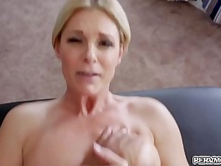 Milf India Summer is so horny as she goes down to her knees and grab her step sons thick cock!