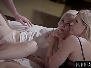 This milf and 18 year old babe both get fuck by a huge cock