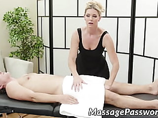 MILF in high heels massages and fucks