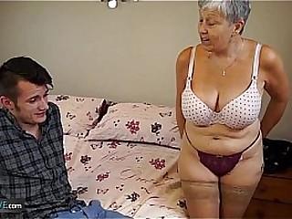 Old grandma seduces sexy boy