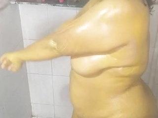 Wife taking bath